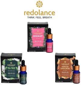 redolance ROSEMARY, TEA TREE, SANDALEWOOD Essential Oil 10mlx3
