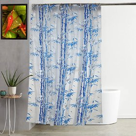 Fabfurn PVC Shower Curtain Liner for Bathroom Showers and Bathtubs with 8 Hooks (Size 7x4.5 feet, Color Blue)