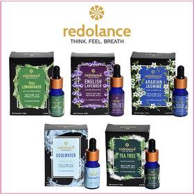 redolance 100 Pure Lemongrass, Lavender, Jasmine, AQUA  Tea Tree Essential Oil (LBH)2.5X2.5X8 cm pack of 5 for Di
