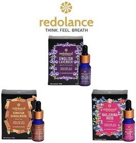 redolance Pure LAVENDER, SANDALWOOD, Rose Essential Oil 10MLX3