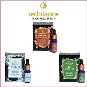 redolance 100 Pure Sandalwood, AQUA, Lemongrass Essential Oil 10MLX3