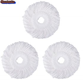 Microfiber Replacement Head Refill for Rotating Spin Mop Cleaner (White) - Pack of 3