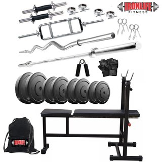 Ironlife Fitness Rubber 50 Kg Home Gym Set with 3 Ft Curl 5 Ft Plain Rod and One Pair DRods Comes with 3 in 1 Bench