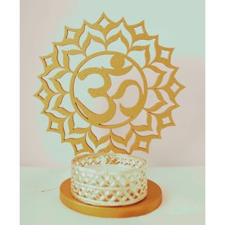 Mayra Creation Golden Wooden Decorative Shadow Divine Ohm Tealight Candle Holder without candle
