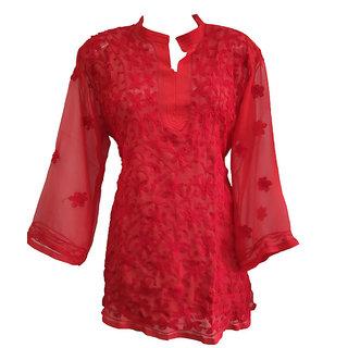 Chikankari Straight Short Georgette Kurta Color Red