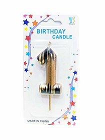 Numerical No. 1 Gold Candle With Black Design Candle (3-Inch) Number Candle