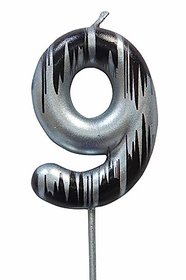 Hippity Hop Numerical No. 9 Silver Candle With Black Design Candle (3-Inch) Number Candle