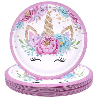 Hippity Hop Unicorn Themed Disposable Paper Plates (10) Unicorn Themed Party