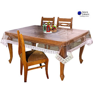 BLUE GRACE 4 Seater Transparent PVC Rectangular Center Dining Table Cover with White border (40x60)