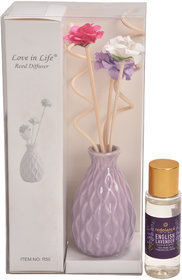 redolance scented reed diffuser lavender oil 30ml ceremic pot purple colour LBH (INC) 2x2x3 for home, office and spa Dif