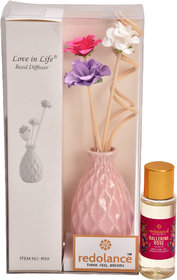 redolance scented reed diffuser rose oil 30ml ceremic pot purple colour LBH (INC) 2x2x3 for home, office and spa Diffuse