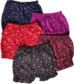 Fashionable Cliq Cotton Multicolor Printed Bloomers For Girls Pack of 5