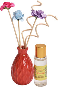 redolance scented reed diffuser citronella oil 30ml ceremic pot purple colour LBH (INC) 2x2x3 for home, office and spa D