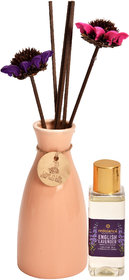 redolance scented reed diffuser LAVENDER oil 50ml ceremic pot orange colour LBH (INC) 2.5X2.5X5 for home, office and spa