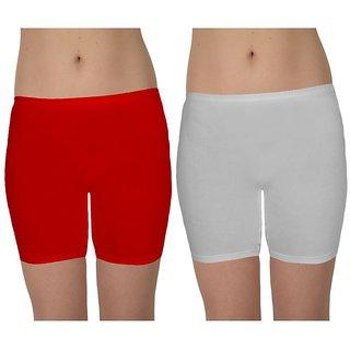 Aglobi Women's Cotton Shorts Combo pack 2(Red,White)