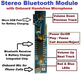 BTC DC5V Wireless Bluetooth Music Audio Receiver Module with onboard Handfree Mic, Battery terminals  playback controls