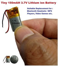 Tiny 150mAH 3.7V Lithium ion Battery for Bluetooth Headsets, MP3 Players, Video Games  Bluetooth Adapters