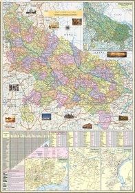 UTTAR PRADESH MAP size  100x70 Centimeter (40x28 inch) With Fact  Figure District Headquarter, Population, Area, Etc