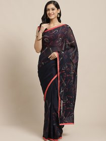 Sutram Printed Navy Blue Georgette Saree for Women with Blouse Piece