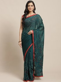 Sutram Printed Dark Green Georgette Saree for Women with Blouse Piece
