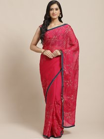 Sutram Printed Pink Georgette Saree for Women with Blouse Piece