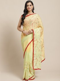 Sutram Printed Light Green  Peach Georgette Saree for Women with Blouse Piece