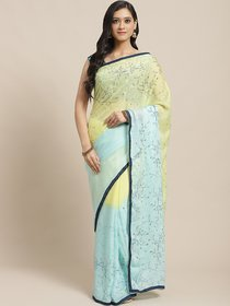 Sutram Printed Blue  Light Yellow Georgette Saree for Women with Blouse Piece