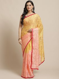 Sutram Printed Peach  Yellow Georgette Saree for Women with Blouse Piece