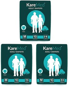 Kare In Med Adult Diapers Medium 10 Count, Waist Size 76cm-114cm (30-45)-Pack of 3 (30 Counts)
