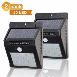 Kushahu Set of 2 20LED Solar Wireless Security Motion Sensor LED Night Light (Black)