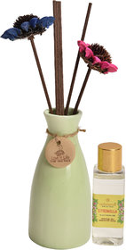 redolance scented reed diffuser citronella oil 50ml ceremic pot green colour LBH (INC) 2.5X2.5X5 for home, office and sp