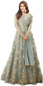 Today Deal Grey Net Embroidered Semi Stitched Gown