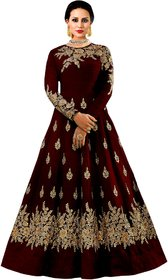 Today Deal Maroon Taffeta Silk Embroidered Gown For Women
