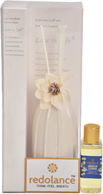 redolance scented reed diffuser jasmine oil 50ml ceremic pot white colour LBH (INC) 3x3x5 for home, office and spa Diffu