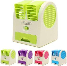 Mini Small Fan Cooling Portable Desktop Dual Bladeless water Air Cooler USB (Random Color)