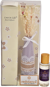 redolance scented reed diffuser LAVENDER oil 30ml ceremic pot blue colour LBH (INC) 1.6X1.6X 5 for home, office and spa