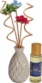 redolance scented reed diffuser jasmine oil ceremic 30ml pot pink colour LBH (INC) 2x2x3 for home, office and spa Diffus