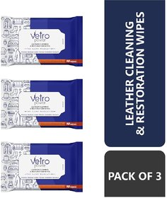 Vetro Power Leather Cleaning and Restoration Wipes - Pack of 3