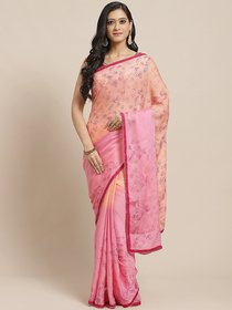 Sutram Printed Pink  Peach Saree for Women with Blouse Piece