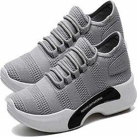 Claymb Gray Mesh Air Mix Sports Shoes For Men (GRAY)