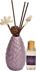 redolance scented reed diffuser lavender oil 50ml ceremic pot purple colour LBH (INC) 2.5X2.5X4.2 for home, office and s
