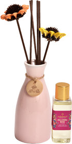 redolance scented reed diffuser ROSE oil 50ml ceremic pot pink colour LBH (INC) 2.5X2.5X5 for home, office and spa Diffu