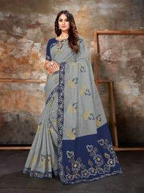 Sutram Grey Chanderi Cotton Embroidery Saree with Unstitch Blouse Piece