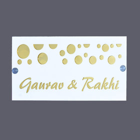 Exclusive Eye catching  white and golden mirror Acrylic name plate for bunglow,villa,apartment,flates,house,home,door si