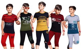 Kavin's 3/4th Pant with Half-Sleeve Tees for Kids, Pack of 5, Unisex, Multicolored-Jasper