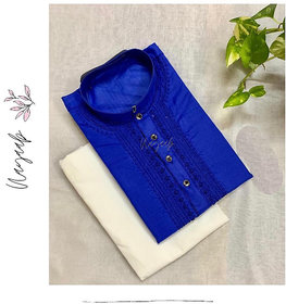 Baraji  Cotton Fabric Kurta Pajama Set For Men With Front Embroidery Color Blue