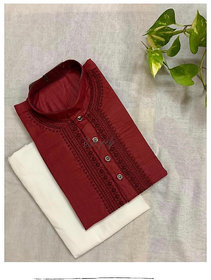 Baraji  Cotton Fabric Kurta Pajama Set For Men With Front Embroidery Color Brown