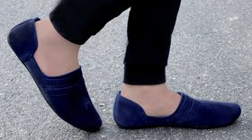 Aadi Men's Blue Suede Leather Outdoor Casual Mojaris