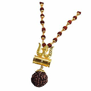 Kesar Zems Metal Gold Trishul Pendent With Five Mukhi Rudraksha Beads