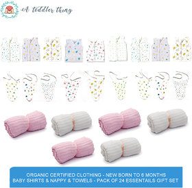 A Toddler Thing - Organic Certified  Clothing - New Born to 6 months Baby Shirts  Nappy  Towels - Pack of 24